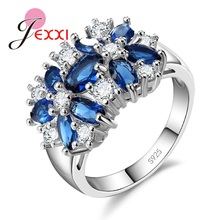 JEXXI Valentine's Day Gift Womens 925 Sterling Silver Romantic Wedding Large Colored Ring Blue Green Zircon Sets Ring Jewelry