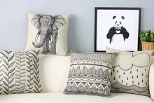 Personalized hand-painted elephant Chair Pillow Modern minimalist Pillow Covers Artistic black and white Pillows For Sofa