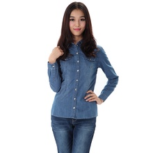Spring and autumn women's phil denim long-sleeve shirt cheap clothes china women Fashion sexy Discount promotion(China)