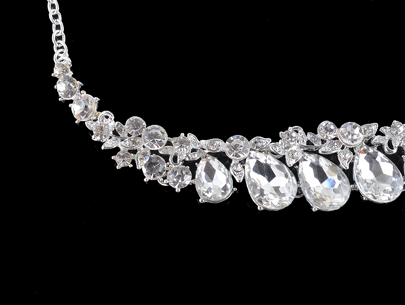 High quality wedding jewelry sets bridal silver necklace and earrings crystal rhinestone women party dress jewerly accessories 14