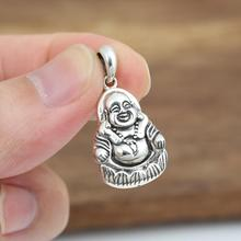 100% Real Pure 925 Sterling Silver Pendant For Necklace Men Women China Buddha Figure Pendant Handmade Sterling Silver Jewelry