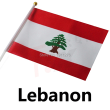 New fashion Lebanon Flag 14x21cm Polyester Hand Waving National Flag Lebanon with Plastic Flagpoles Home Decor.10 pcs /lot(China)