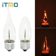 iTimo LED Edison Bulb E14 E27 3W Flame Fire Lighting Vintage Flickering Effect Tungsten Novel Candle Tip Lamp Orange Red(China)
