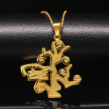 2017 Hip-Hop Tree of Life Stainless Steel Necklaces Men Lucky Fashion Plated Gold Chain Necklace jewelry collier femme N69176B