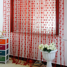 100*200cm Romantic Peach Heart Line Curtain Wedding /Love Curtains Living Room Partition Decorative Curtain Hanging(China)