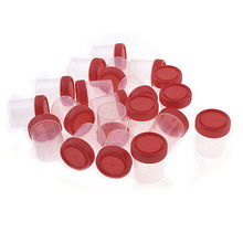 20pcs Red Clear Plastic Round Shape Urine Test Cups Holder 60mL w Cover
