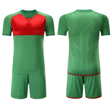 2017 new V collar mens football jerseys set polyester blank soccer team training suits breathable pockets short uniforms design(China)