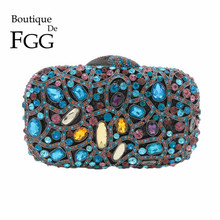 Dazzling Multi Crystal Women Evening Party Bags Metal Clutches Handbags and Purses Bridal Wedding Diamond Clutch Bag Fit For I7