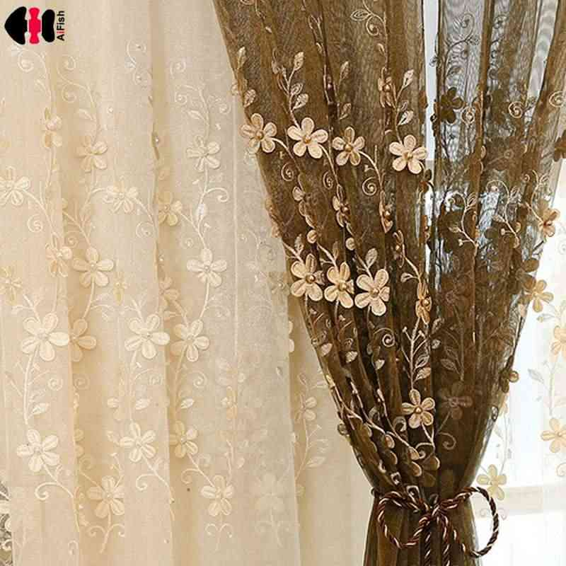 European Cute Pearl Embroidery Flower Beige Sheer Voile Cortinas For Living Room Coffee Beige Tulle For Bedroom Balcony WP362C