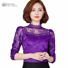 5XL Plus size Women Clothing 2017 Autumn Women lace tops Fashion Elegant t- shirt Long-sleeve Sexy Hollow lace shirt ok411(China)