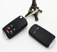 New Modified Flip Folding Remote Key Shell Case For Chrysler 300C Sebring Jeep Compass Wrangler Patriot 4+1 Button Fob Key Cover