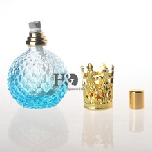 Empty Light Blue Perfume Bottle With Gold Capsule Refillable Perfume Glass Bottle(China)
