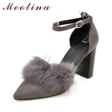 Meotina Shoes Women High Heels Ankle Strap Pumps Autumn Thick Heels Feather Sexy Party Shoes Two Piece Lady Shoes Red Gray 9 10(China)