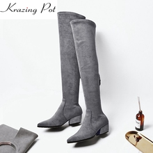 Krazing Pot high street fashion sheep suede beauty long legs square med heels zipper hollywood superstar over-the-knee boots L25(China)