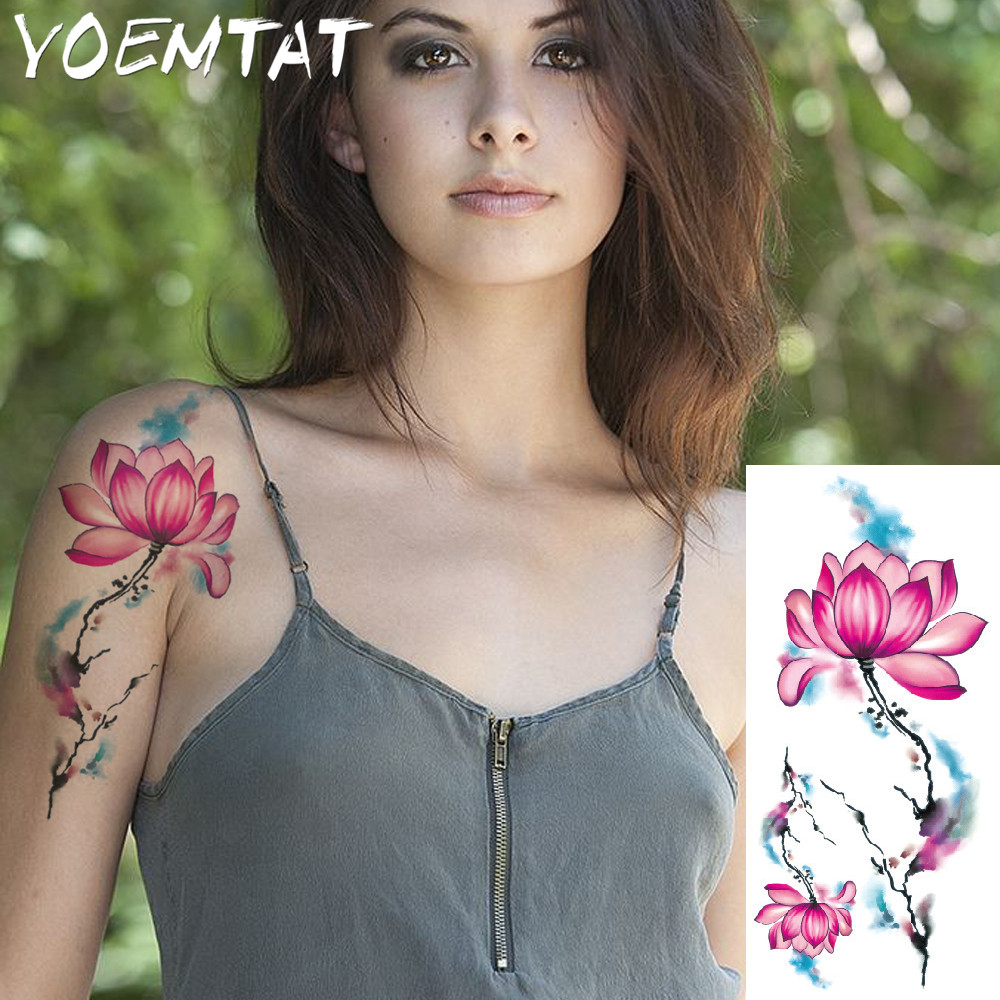 25 style flower arm shoulder tattoo stickers flash henna tattoo fake waterproof temporary tattoos sticker women 6