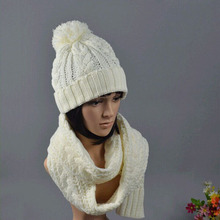 New Ladies Women Knitted Scarf And Hat Suite Set Winter Girl Knitting Scraves Cap warm (No gloves) Free shipping(China)