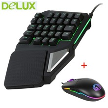 DELUX T9 PRO Gaming mini keyboard usb mouse portable pc mice keyboard with backlight 7Color mouse 800 to 5000DPI for laptop(China)