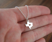 Texas State Charm With Heart Necklace Longhorns Dallas Lone Star State Of Texas Cowboy Necklaces & Pendants Map Women Lead Free