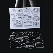 DIY Metal Cutting Dies and Clear Rubber Stamp Dog Happy Birthday Flower Girl Stamp with dies Set for card making scrapbooking(China)