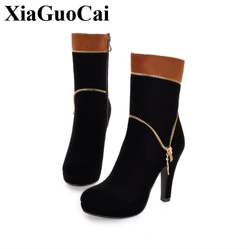 Fashion High Heel Ankle Boots Women Shoes Sexy Pointed Toe Zip Autumn Winter New Women Solid Black Platform Ladies Shoes H506 35<br>
