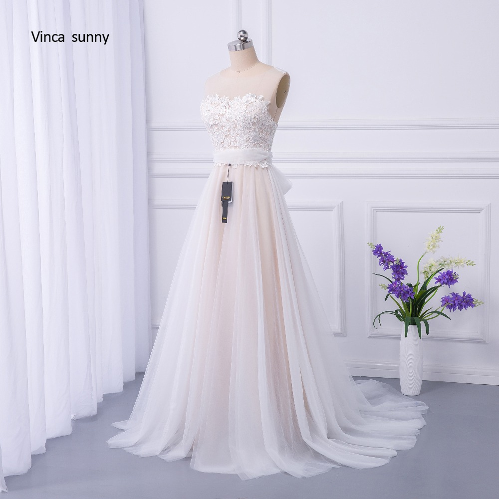 vinca sunny Bohemian Wedding Dresses French Lace sleeveless Boho Beach Wedding Dress zippe Back Bridal Gowns vestido de noiva 3