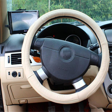 2015 New Products Genuine Leather Car Steering Wheel Cover 38cm Winter Steering Wheel Cover from China White Inner