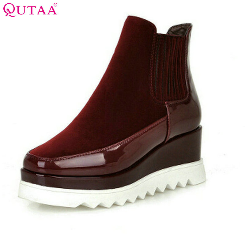 QUTAA 2017 Pleated  Ankle Boots Fashion PU Patent Leather Wedge High Heel Platform Round Toe  Female Motorcycle Shoe Size 34-43<br>