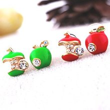 E020 2017 new listing cute red apple earrings exquisite crystal shop women jewelry free shipping