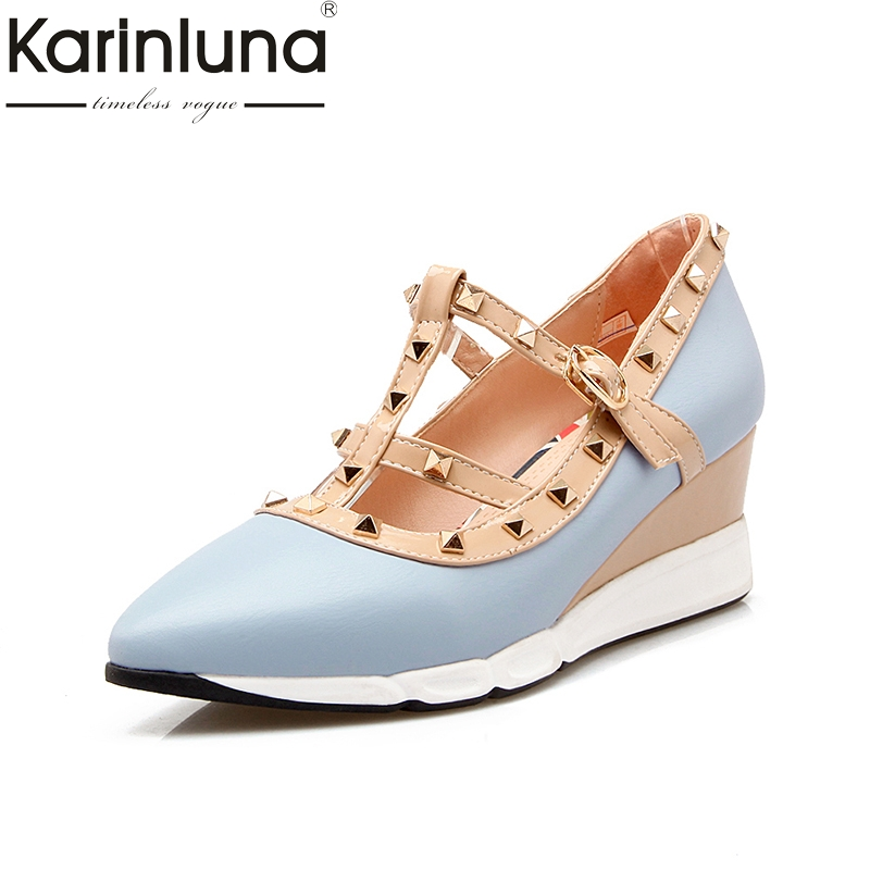 Karinluna 2018 Brand Shoes Women Wedge High Heels Pointed Toe Buckle Strap Rivet Leisure Woman Pumps Shoes Size 34-39<br>