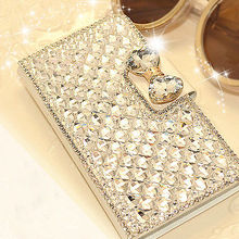 New Fashion Luxury Bling Diamond Bowknot Crystal Wallet Flip Case Cover For  6s Plus