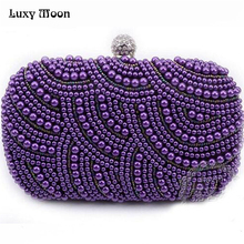 New 2016 purple pearls evening bags blue black grey beaded clutch bag wedding bridal clutches party dinner purse chains handbag(China)