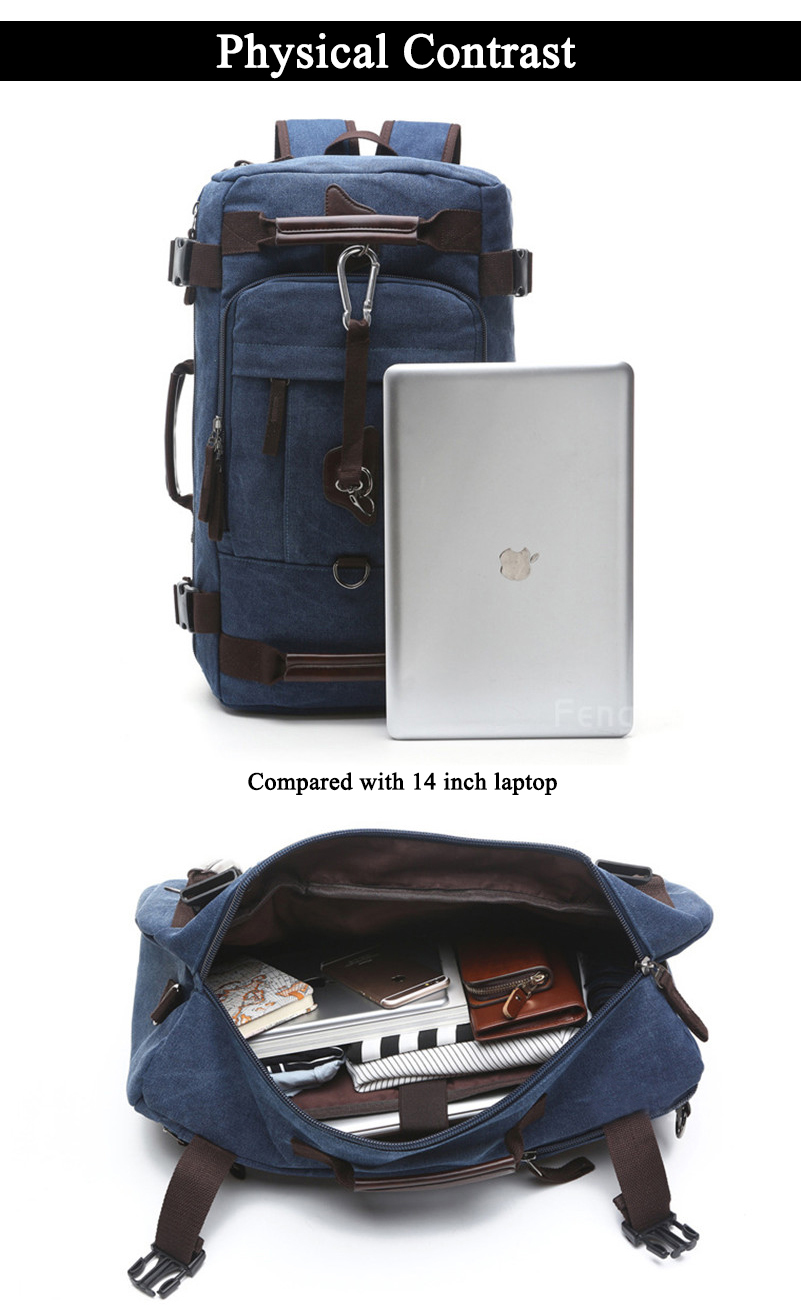 a photo of a blue navy rucksack with a laptop and a photo of the internal pocket