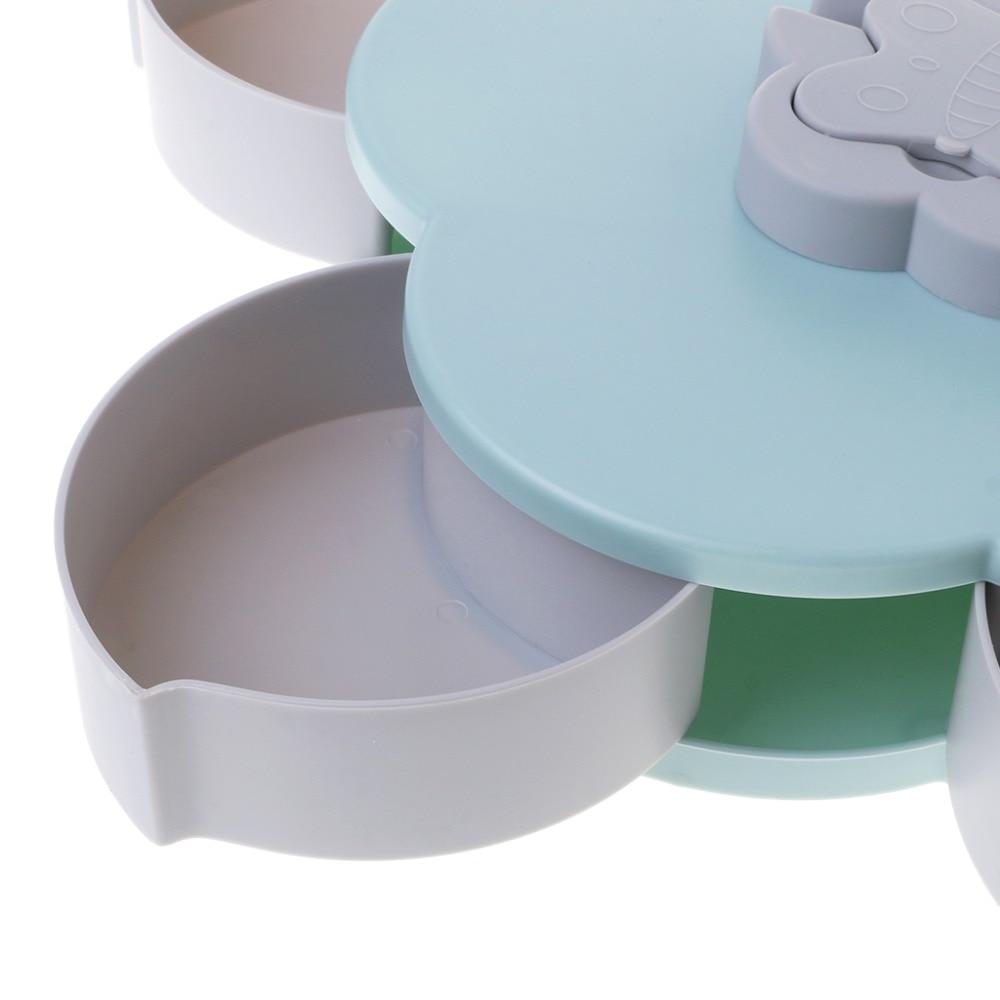 Petal Shaped 5 grid Plastic Candy Snacks Rotating Dried Fruit Plate Tray Folding