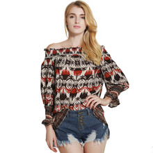 Women Fashion Flare Sleeve Blouse Ladies Retro Printing Tops Clothing Strapless Shirts Tops Female Clothes Blouses Shirt 52103