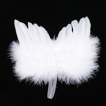Chic Hanging Angel White Feather Wing Christmas Tree Decoration Ornament Wedding(China)