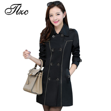 TLZC Double Breasted Women Fashion Trench With Sashes Big Size L-4XL Korean Style Lady Long Coats Slim Fit Women Outerwear
