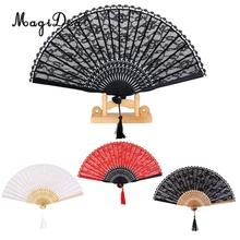 MagiDeal Flower Chinese Lady's Lace Trim Bamboo Hand Fan Folding Fan Dancing Party Fan Wedding Party Favors Gifts Home Decor