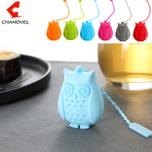 2016 Hot Sale Owl Tea Bags Strainers Silicone Teaspoon Filter Infuser Silica Gel Filtration