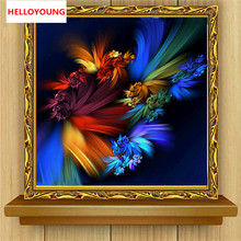 YGS-345 DIY 5D Diamond Embroider The Abstract Flowers Round Diamond Painting Cross Stitch Kits Diamond Mosaic Home Decoration(China)