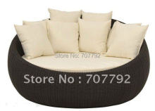 2017 Hot sale SG-7008 Elegant black rattan outdoor furniture with 6 cushions