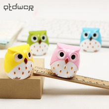 2PCS Random Color Mini Kawaii Funny Owl Pencil Sharpener Cutter Knife School Student Stationery Supplies(China)