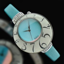 Lady Woman Wrist Watch Quartz Shell Hours Best Fashion Dress Korea Leather Bracelet Band Ice Cream Blue Girl Gift Birthday 504