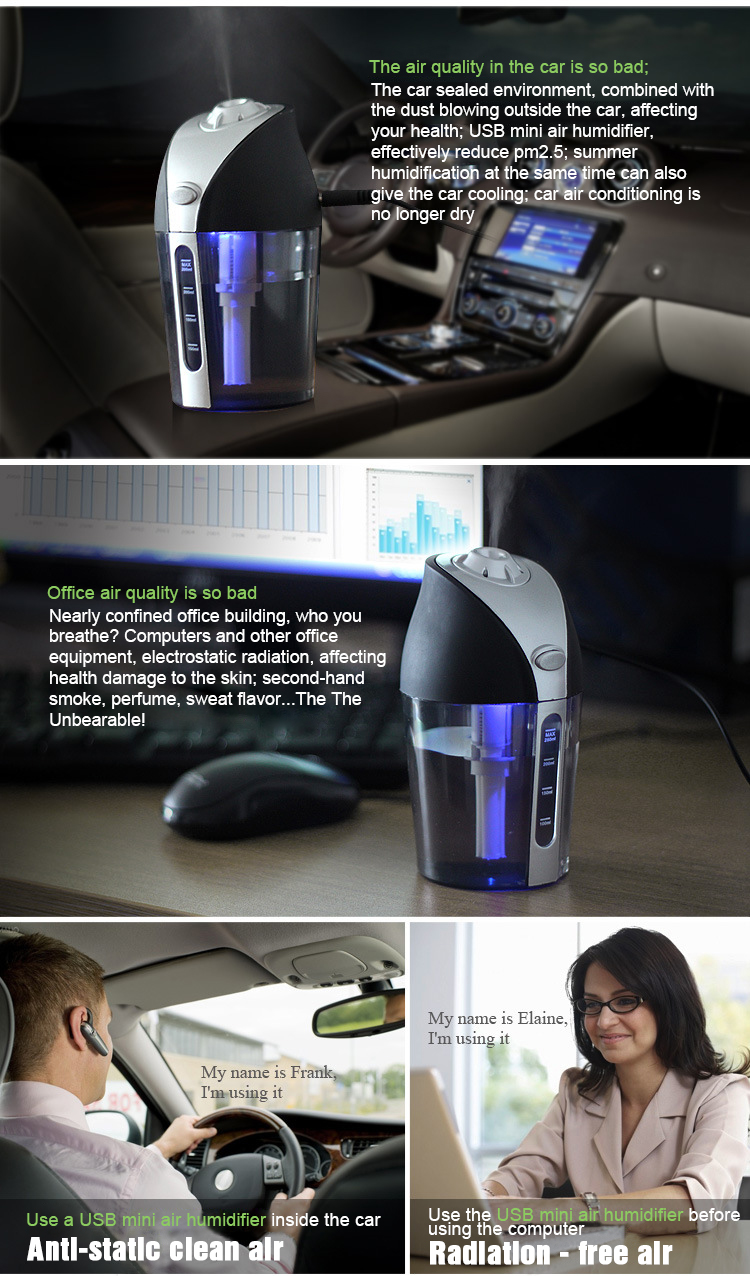 ITAS3303 Hot Sale Vehicle Mounted Humidifier USB Mini Ultrasonic Atomizer Air Purifying Vehicle Oxygen Bar