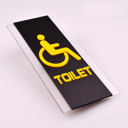 Custom Made Quality Door Plate Sign Plate Indicator for Toilet Rest Room Washroom Acrylic Creative Design Disabled 3D 11 x 25cm<br>