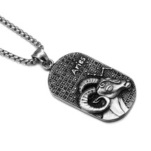 HIP Punk 12 Zodiac Sign Men Aries Charm Necklaces & Pendants Solid Casting Stainless Steel Dog Tags Necklace for Men Jewelry