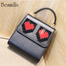 Fashion design block letters ladies handbag heart shape pattern cross body messenger PU leather tote bag Stitching letters purse