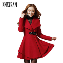 Free shipping 2017 new women Korean fashion slim medium long turn down collar autumn winter wool ruffles dress coat hot M0245