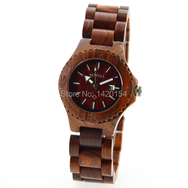 Red Sandal Wood Wrist Watch Date Bracelet Quartz Watch for Women<br>