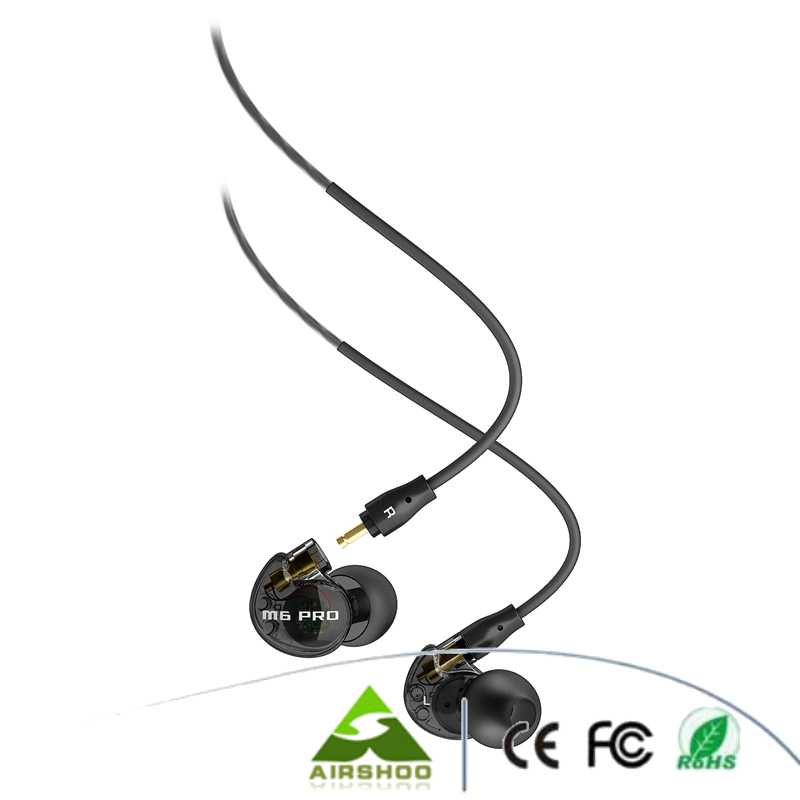 Sports Running Earphone ME E Audio M6 PRO Noise-Isolating Hifi In-Ear Monitors with Detachable Cables (Transparent Black)<br>