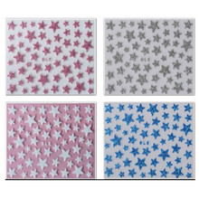 1x NEW Glitter Shinning Star Designs Nail Decals 3d Nail Art Stickers Manicure Pedicure Salon Express Foils Styling Tools NC132(China)